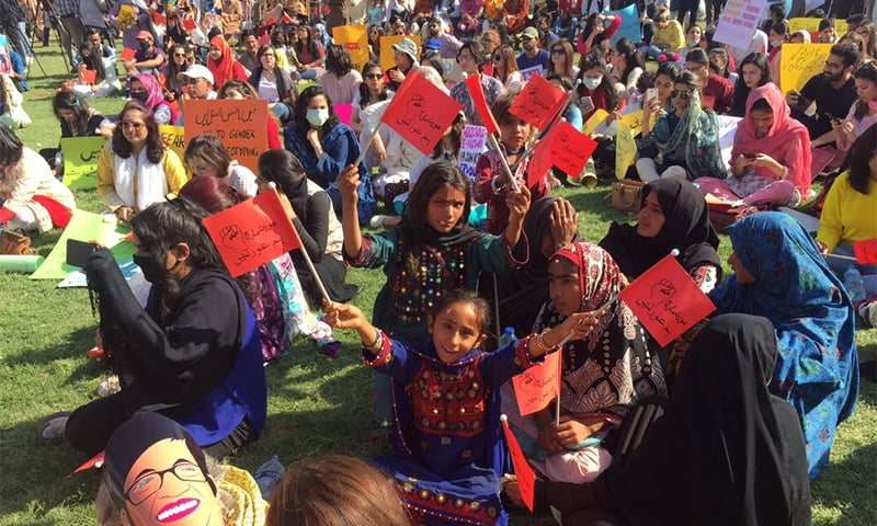Children participate in Aurat March at Karachi's Frere Hall. — Photo courtesy Aurat March Karachi Twitter account