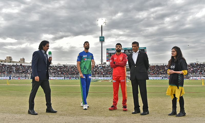 Multan Sultans won the toss and chose to field first against Islamabad United in their Pakistan Super League (PSL) 2020 fixture at the Rawalpindi Cricket Stadium on Sunday. — Photo courtesy Pakistan Cricket Board