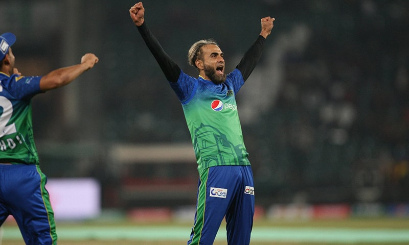 Multan Sultans player Imran Tahir celebrates after taking the wicket of Islamabad United's Shadab Khan. — Photo courtesy Multan Sultans Twitter