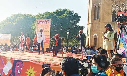 تقریب میں خواتین کے حقوق پر مبنی تھیٹر بھی پیش کیا گیا—تصاویر ساگر سہندڑو
