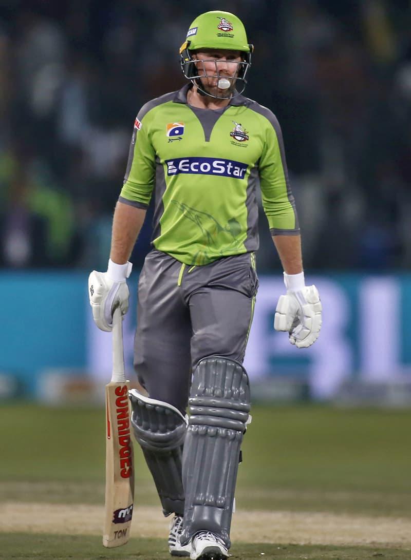 Ben Dunk walks during Sunday's match against Karachi Kings. — AP