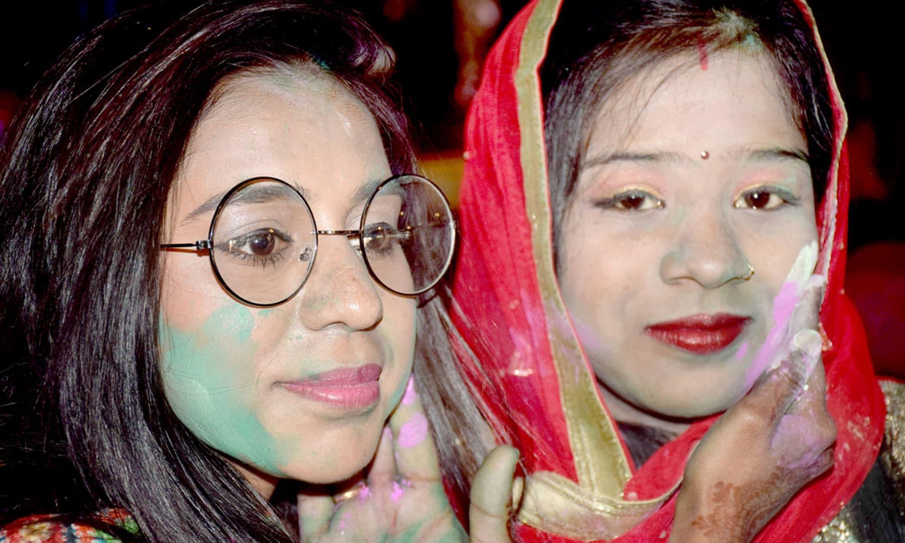 Members of the Hindu community celebrate Holi at a venue in Hyderabad, Pakistan. — APP