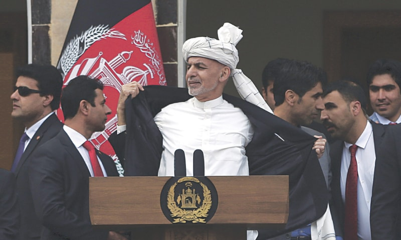KABUL: Afghan President Ashraf Ghani pictured after a few rockets were fired during his inauguration speech at the presidential palace on Monday. — AP