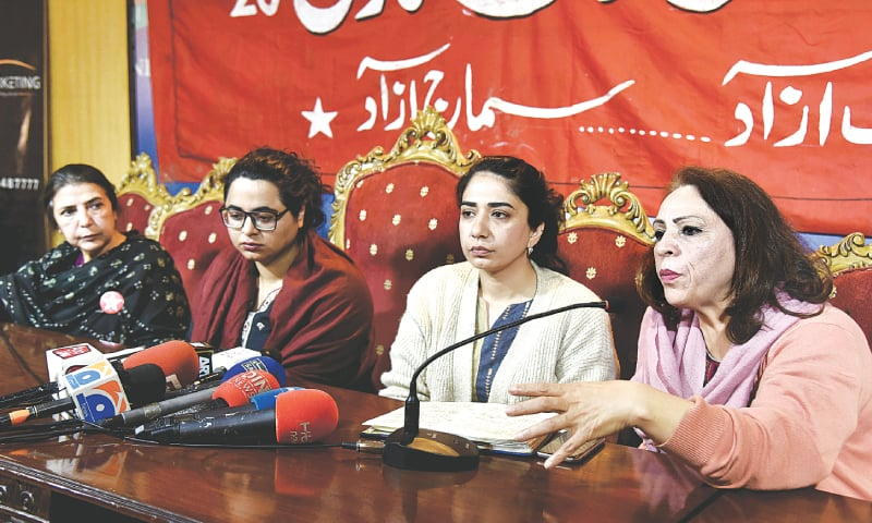 Organiser of a women's march, Farzana Bari, speaks to media representatives at a press conference on Tuesday.—White Star
