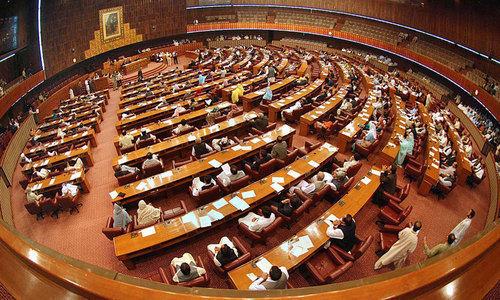 Bills proposing bar on dual national civil servants, open ballot for Senate polls land in NA. — APP/File