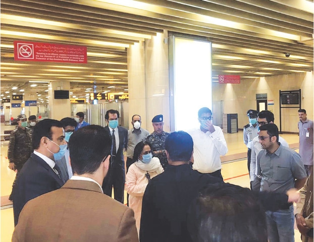 SINDH Health Minister Dr Azra Fazal Pechuho visits the airport on Wednesday.—PPI