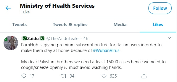 Screenshot of a tweet liked by @MinHealthpk.