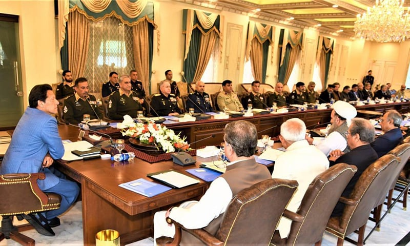 Prime Minister Imran  Khan chaired the meeting which the provincial chief ministers and civil and the military leadership also attended. — Photo courtesy: PM Office