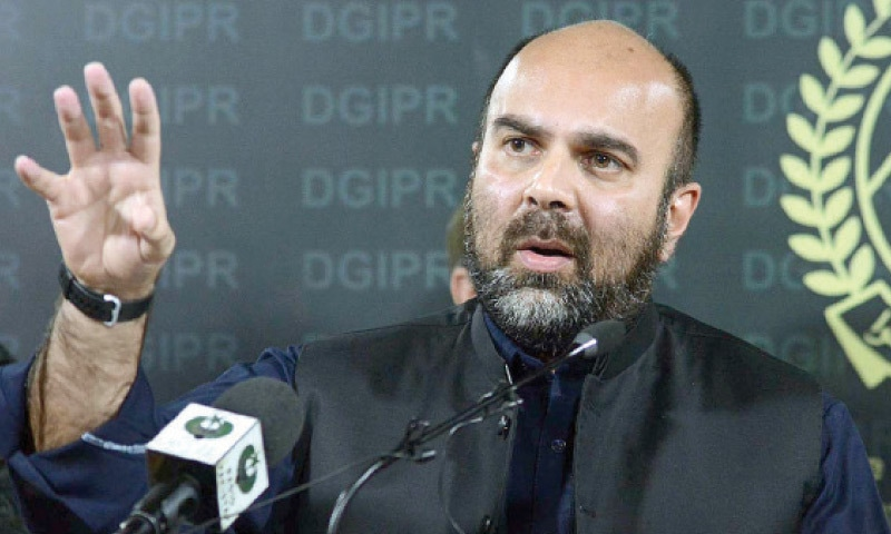 KP Health Minister Taimur Saleem Jhagra addresses mediapersons in Peshawar on Friday. — APP