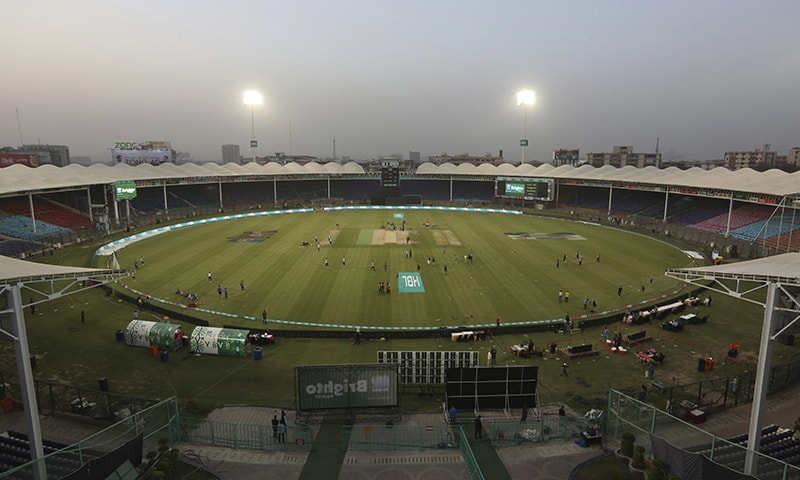 Pakistani cricket teams practice in an empty National Stadium in Karachi on March 13 after the Pakistan Cricket Board announced PSL matches will be played without spectators. — AP