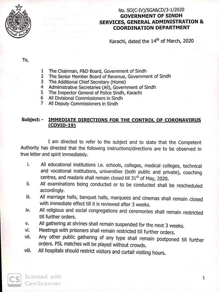 Directions issued by Sindh govt. (Page 1)