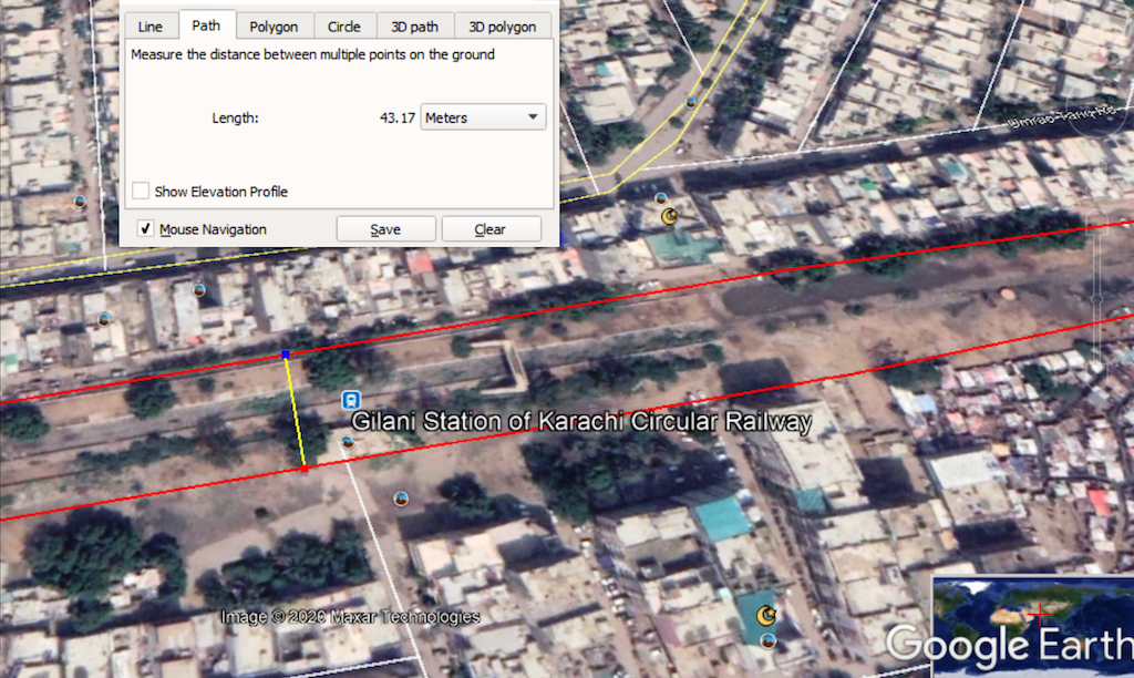 Google Earth view of Gilani Station of KCR