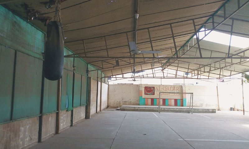 THE football ground on the second floor rooftop of the school in Chakiwara, Lyari.—Photo by writer