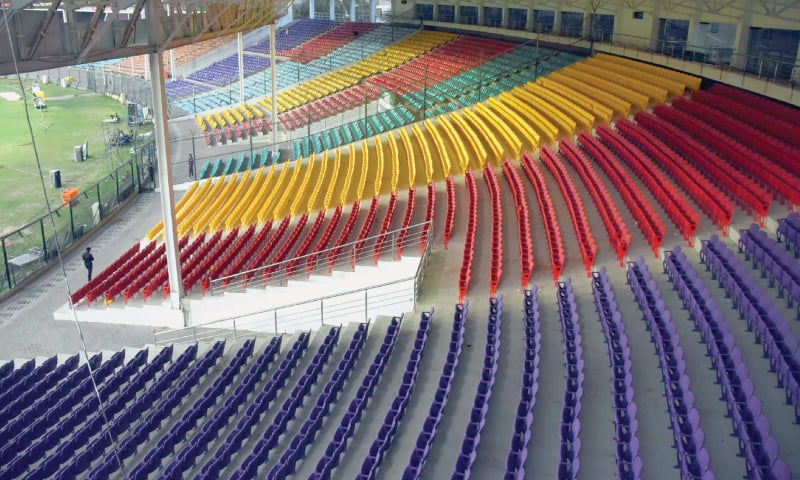 A GENERAL view of the empty stands at the National Stadium during the Pakistan Super League match between Karachi Kings and Islamabad United on Saturday.—APP
