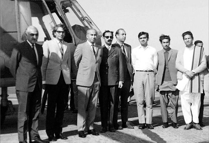 DR MUBASHIR Hasan (second from left) pictured with Zulfikar Ali Bhutto.