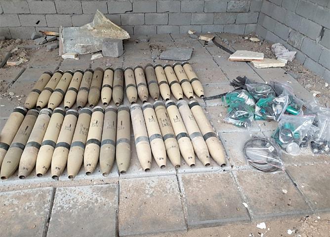 Unused Katyusha rockets found by the Iraqi Army at Umm al-Izam on Saturday.—Reuters