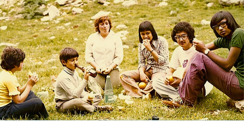 Dr Kamal (right) at a picnic at Brummana High School, with sister Ajam (third from right) in Lebanon (1973)