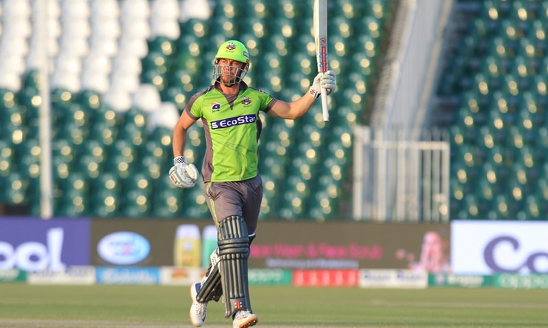 Lahore Qalandars' player Chris Lynn scored an unbeaten 113 runs to propel the home team to victory in their Pakistan Super League 2020 match against Multan Sultans on Sunday. — Photo courtesy Lahore Qalandars Twitter