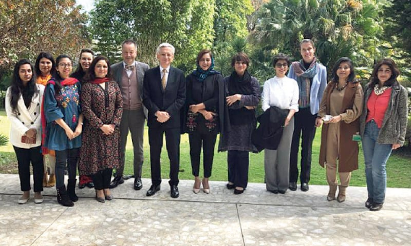 German and French envoys with journalists during a Women's Day lunch in Islamabad.