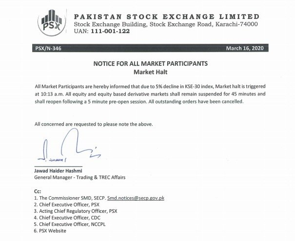 A copy of the notification released on today's market halt.