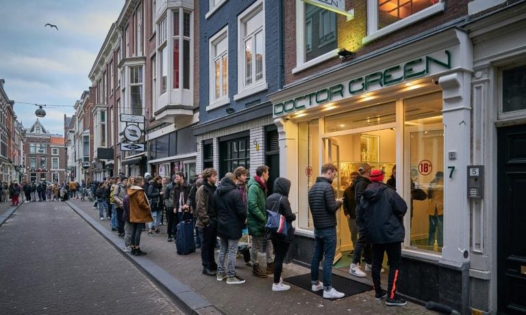 Dutch queue for cannabis as coronavirus closes cafes