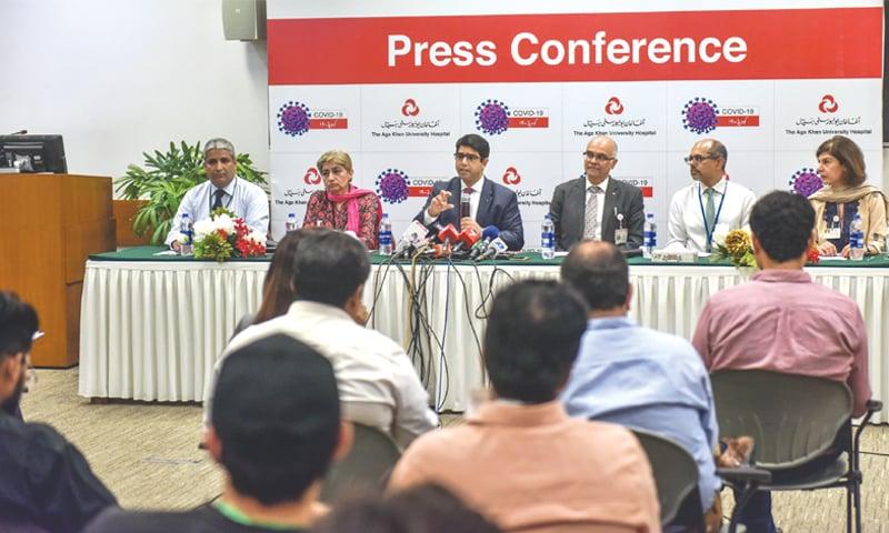 Experts address the press conference at AKU on Monday.—White Star