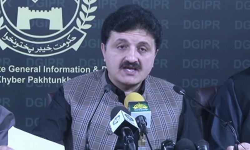 Adviser to KP Chief Minister on Information Ajmal Wazir addresses the media in Peshawar on Tuesday. — DawnNewsTV