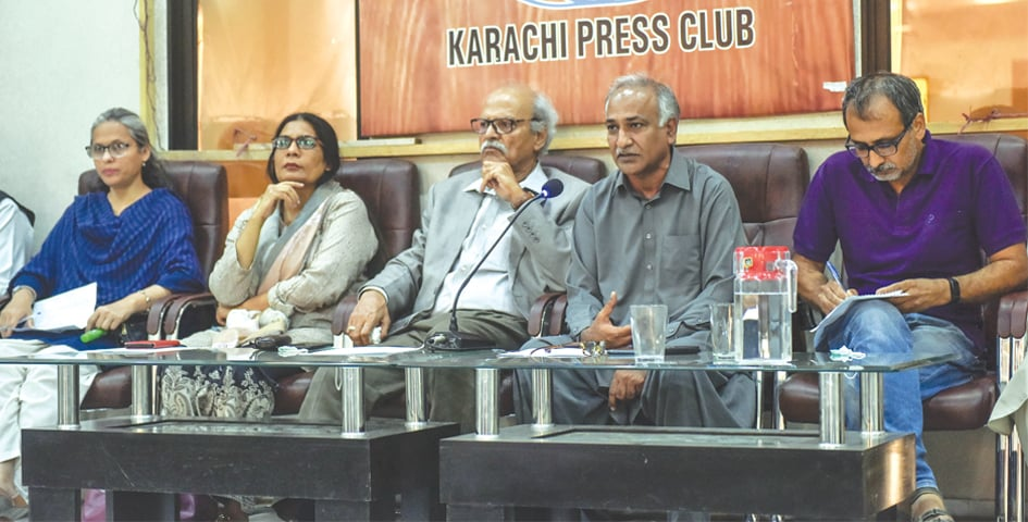 Labour leaders speak at the press conference at the KPC on Tuesday.—White Star