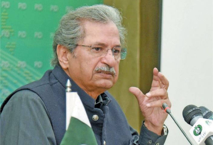 Education Minister Shafqat Mahmood speaks at the press conference on Wednesday. —White Star