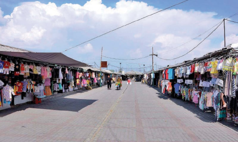 Buyers stay away from the weekly bazaar on Friday as a precaution against the coronavirus. — APP