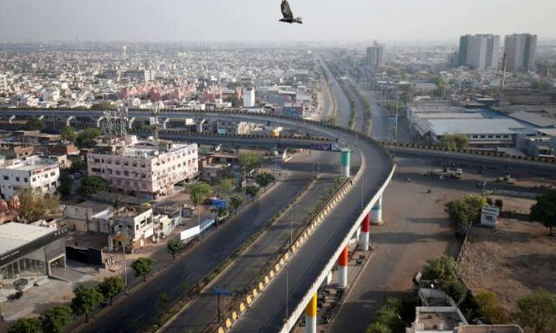 A view shows empty roads in India's Ahmedabad area during a 14-hour curfew. — Reuters.