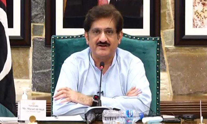Sindh Chief Minister Murad Ali Shah announces a lockdown in Sindh in a video message on Sunday. — DawnNewsTV
