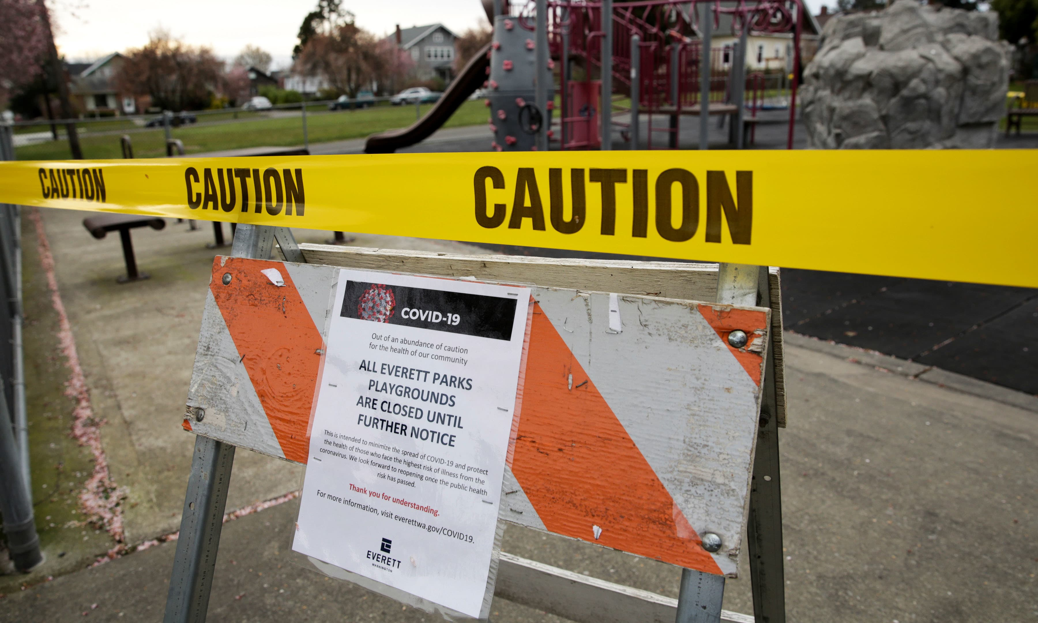 Caution tape is pictured at Drew Nielsen Neighborhood Park after all city park playgrounds were closed as efforts continue to help slow the spread of coronavirus disease in Washington on March 22. — Reuters