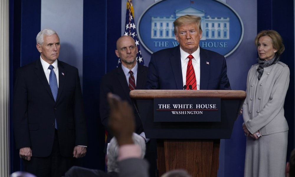 US President Donald Trump takes questions during press briefing with the coronavirus task force, at the White House, on Thursday in Washington. — AP/File