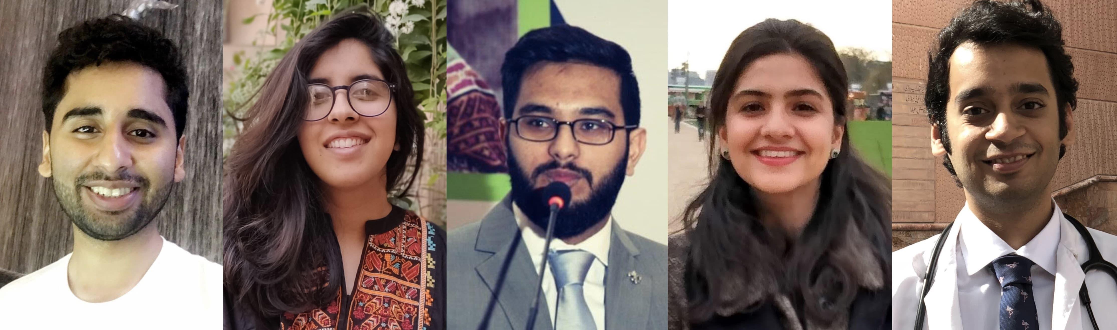 (بائیں سے دائیں) علی آہل نورعلی، انعم نور احسان، کلیم احمد، فائزہ عروج اور محمد حضیفہ ظفر