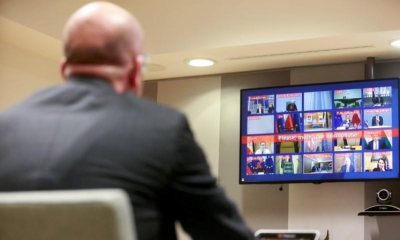 European Council President Charles Michel attends a conference call with European leaders on Coronavirus, COVID-19, at the European Council, Brussels, Belgium on March 10, 2020. — Reuters