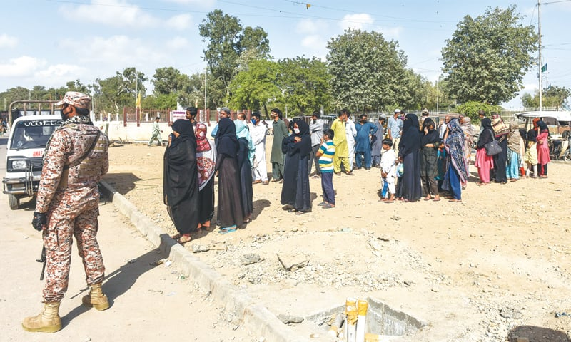 People line up for help at Numaish on Tuesday.—Fahim Siddiqi/White Star
