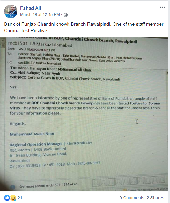 Screenshot of the misleading Facebook post