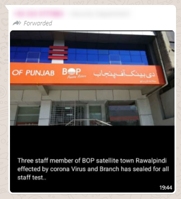 Screenshot of a misleading WhatsApp post