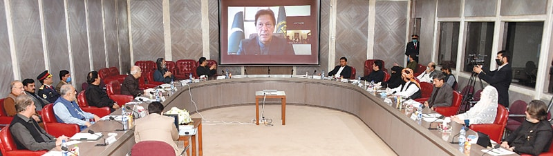 ISLAMABAD: Prime Minister Imran Khan addressing a meeting of parliamentary leaders from the National Assembly and Senate via video link on Wednesday.