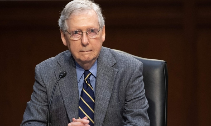 In this file photo, US Senate Majority Leader Mitch McConnell attends a meeting to discuss a potential economic bill in response to the coronavirus in Washington on March 20. — AFP
