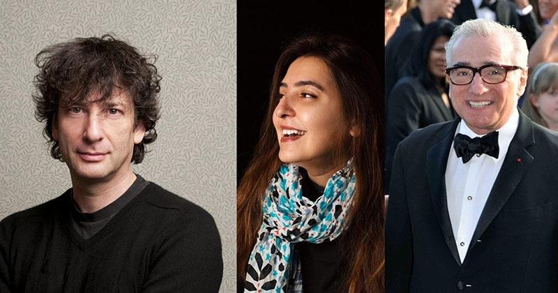 L-R: Neil Gaiman, Attiya Zaidi, Martin Scorsese