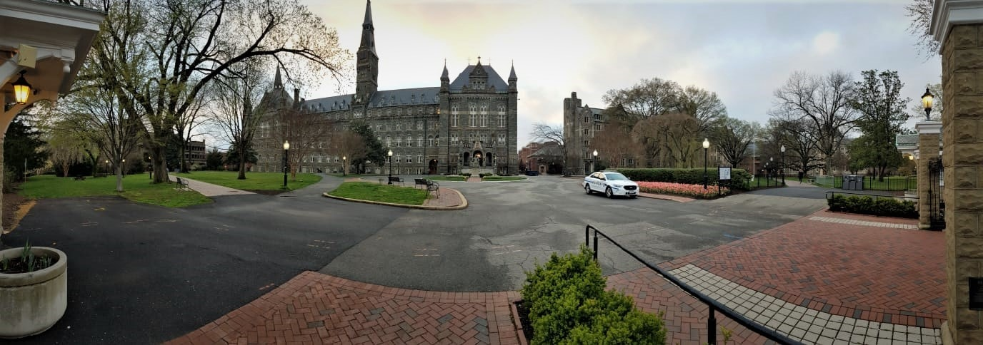 Police vehicle occupy empty campuses across the District as self-imposed quarantines have taken over. In image, a deserted Georgetown University campus, Monday, March 23, 2020. – Picture by Askari Hasan