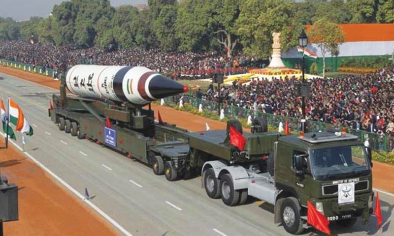 A surface-to-surface nuclear capable Agni V missile is  displayed during the 2013 Republic Day parade in New Delhi, India | Reuters