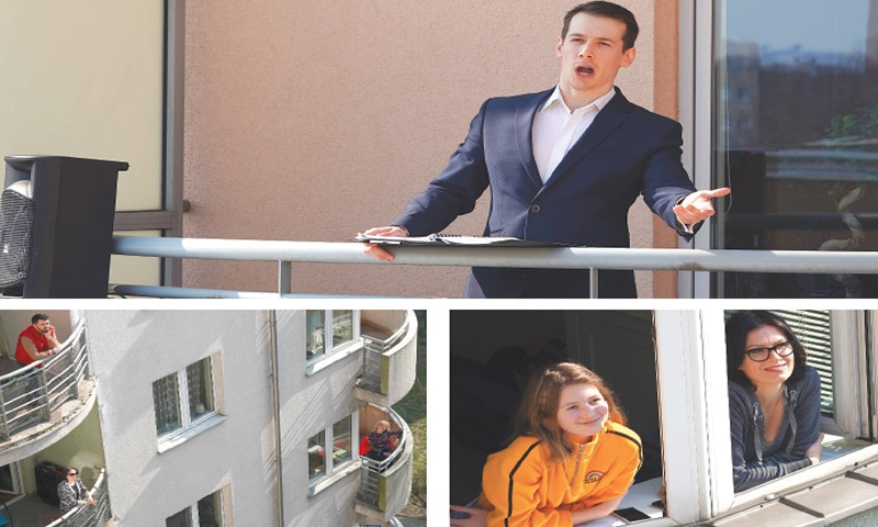 Warsaw: (Top) Opera singer Michal Janicki performs on the balcony of his flat amid the coronavirus pandemic. (Below) His neighbours  listen to him.—AFP