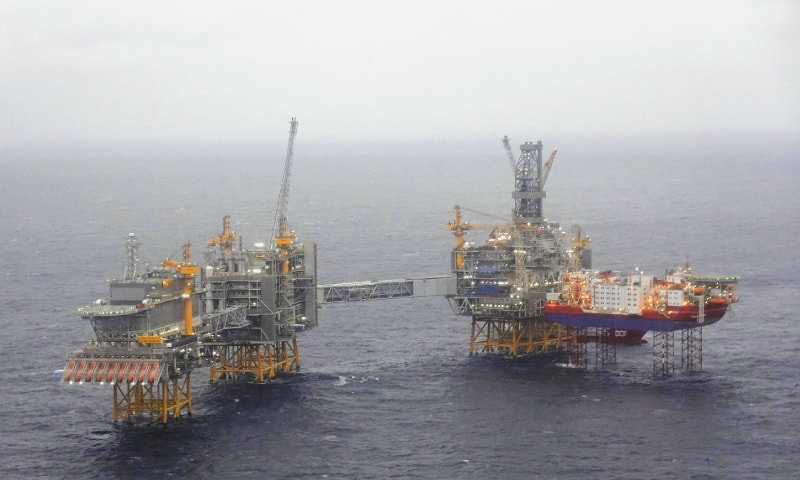 This file photo, taken on Dec 03, 2019, shows five platforms over the Johan Sverdrup oil field in the North Sea some 140km west from the town of Stavanger, Norway. Despite the coronavirus pandemic that is devastating the world economy and oil demand, crude oil production continues at full steam, particularly in Saudi Arabia and the United States, pushing storage capacity to its limits.—AFP