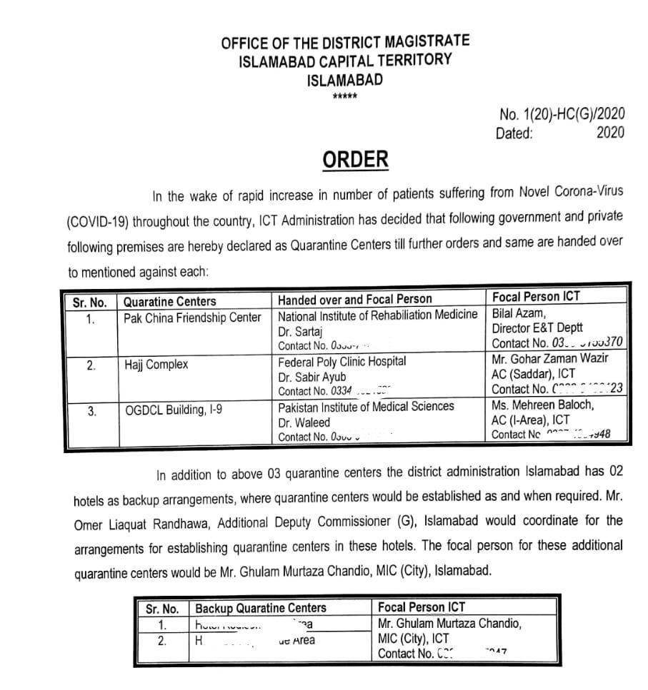 A copy of the notification issued by ICT administration.