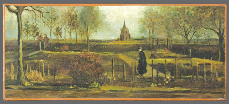 AMSTERDAM: This handout picture released by the Groningen Museum shows Vincent van Gogh's painting, Parsonage Garden at Neunen in Spring, which was stolen on Monday. —AFP