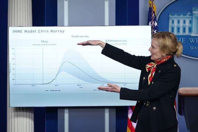 Response coordinator for White House Coronavirus Task Force Deborah Birx speaks as she points a graphic during the daily briefing on the novel coronavirus in the Brady Briefing Room at the White House on March 31, 2020, in Washington, DC. — AFP