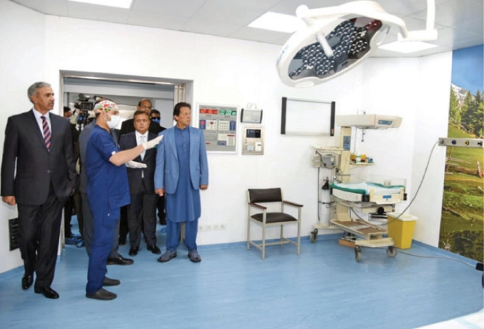 Prime Minister Imran Khan being briefed during his visit to the operation theatre complex of the Cantonment General Hospital in Rawalpindi on Wednesday. — White Star